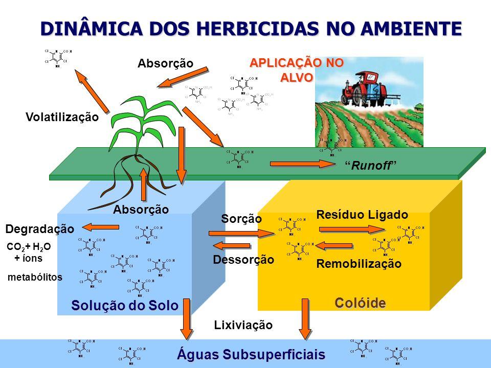 Solução do Solo Águas Subsuperficiais Absorção Colóide DINÂMICA DOS HERBICIDAS NO AMBIENTE APLICAÇÃO NO ALVO Sorção Dessorção Resíduo Ligado Remobiliz