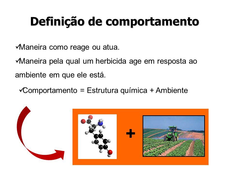 Maneira como reage ou atua. Maneira pela qual um herbicida age em resposta ao ambiente em que ele está. Definição de comportamento + Comportamento = E