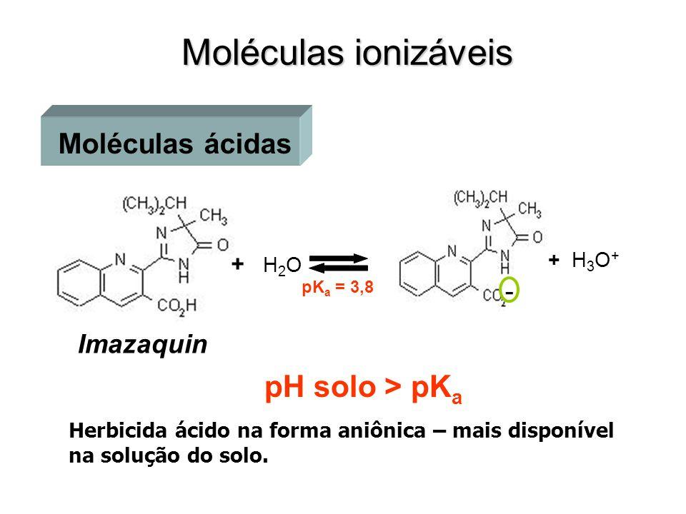 Moléculas ionizáveis Imazaquin pK a = 3,8 - + H 3 O + + H 2 O Moléculas ácidas Herbicida ácido na forma aniônica – mais disponível na solução do solo.