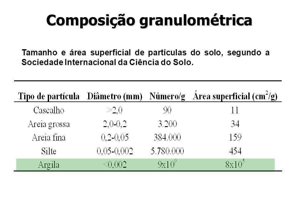 Tamanho e área superficial de partículas do solo, segundo a Sociedade Internacional da Ciência do Solo. Composição granulométrica