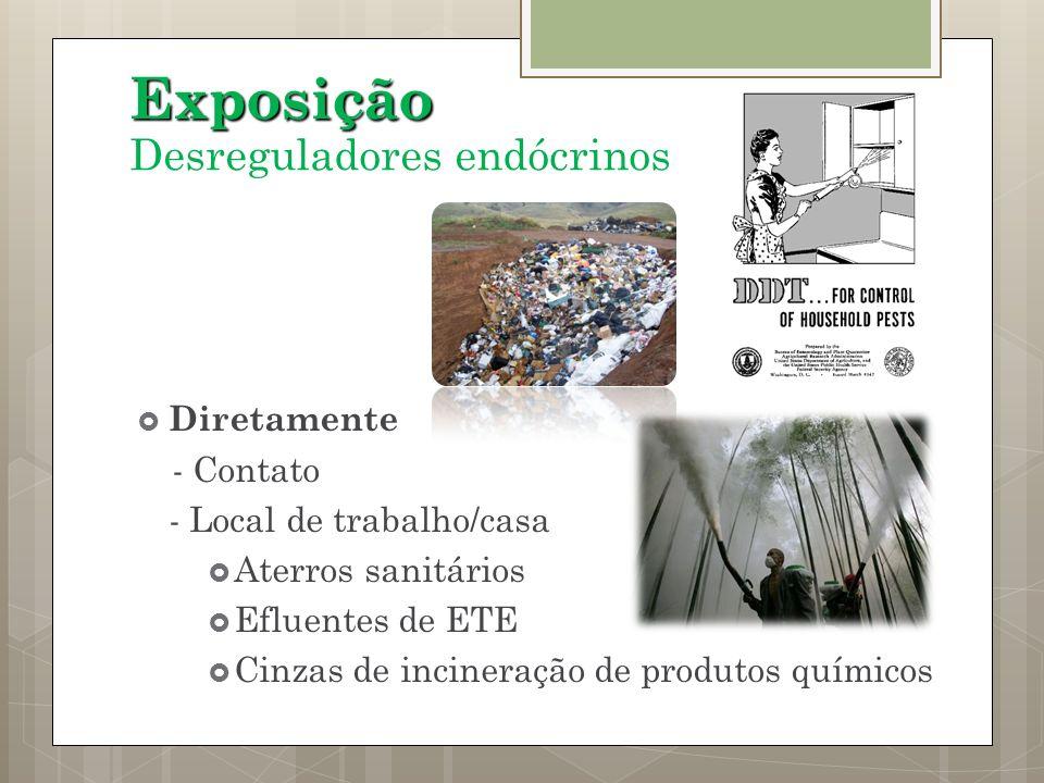 Diretamente - Contato - Local de trabalho/casa Aterros sanitários Efluentes de ETE Cinzas de incineração de produtos químicos Exposição Desreguladores