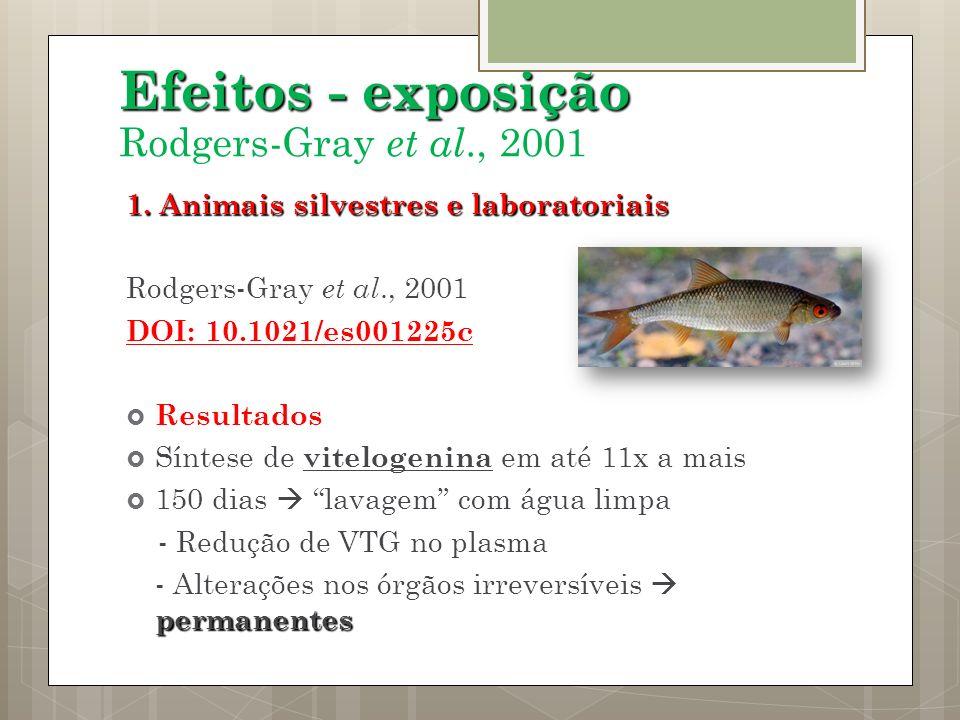 Efeitos - exposição Rodgers-Gray et al., 2001 1. Animais silvestres e laboratoriais Rodgers-Gray et al., 2001 DOI: 10.1021/es001225c Resultados Síntes