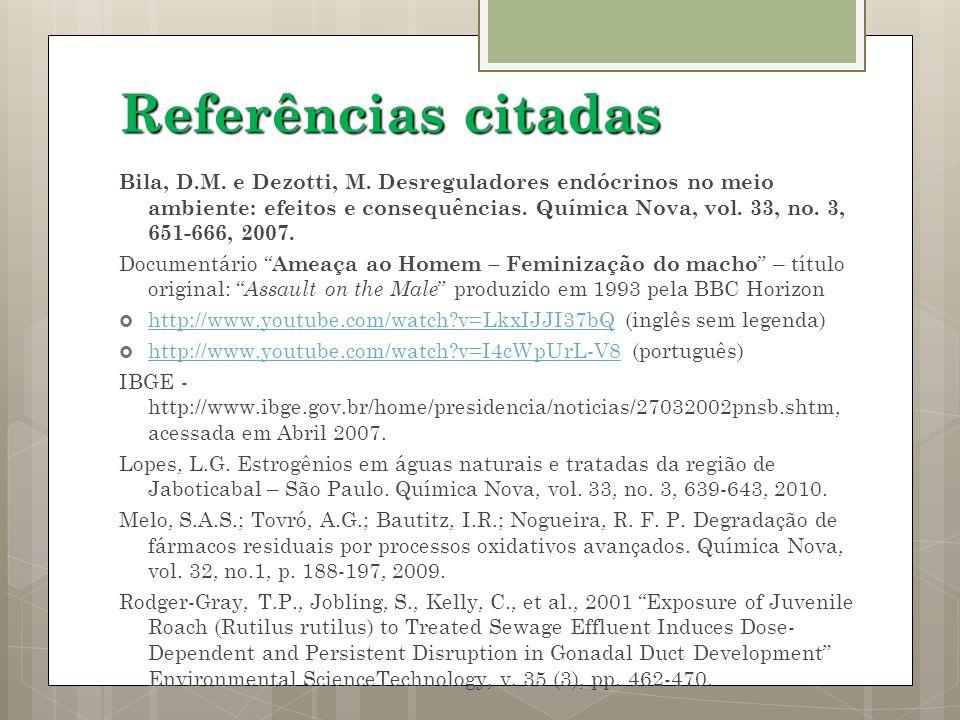 Referências citadas Bila, D.M. e Dezotti, M. Desreguladores endócrinos no meio ambiente: efeitos e consequências. Química Nova, vol. 33, no. 3, 651-66