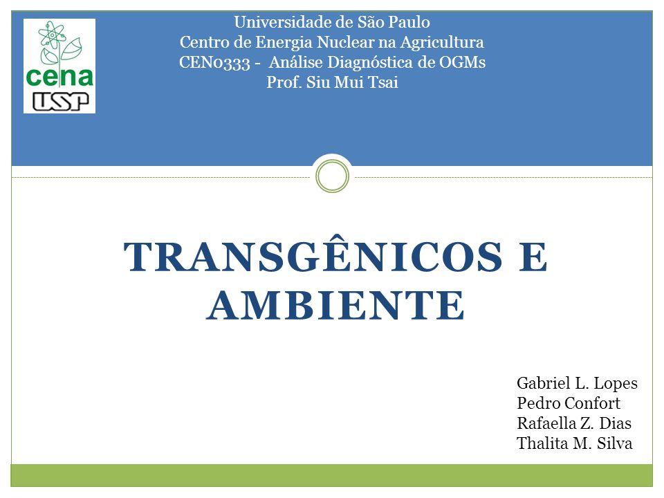 TRANSGÊNICOS E AMBIENTE Universidade de São Paulo Centro de Energia Nuclear na Agricultura CEN0333 - Análise Diagnóstica de OGMs Prof. Siu Mui Tsai Ga
