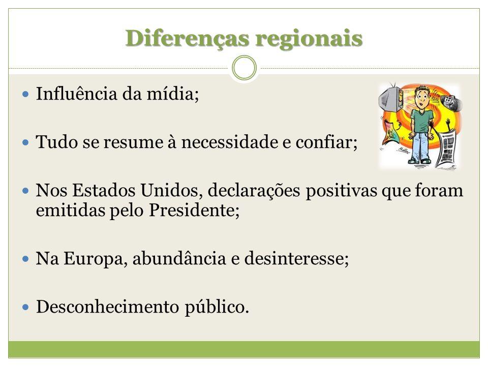 Diferenças regionais Influência da mídia; Tudo se resume à necessidade e confiar; Nos Estados Unidos, declarações positivas que foram emitidas pelo Pr