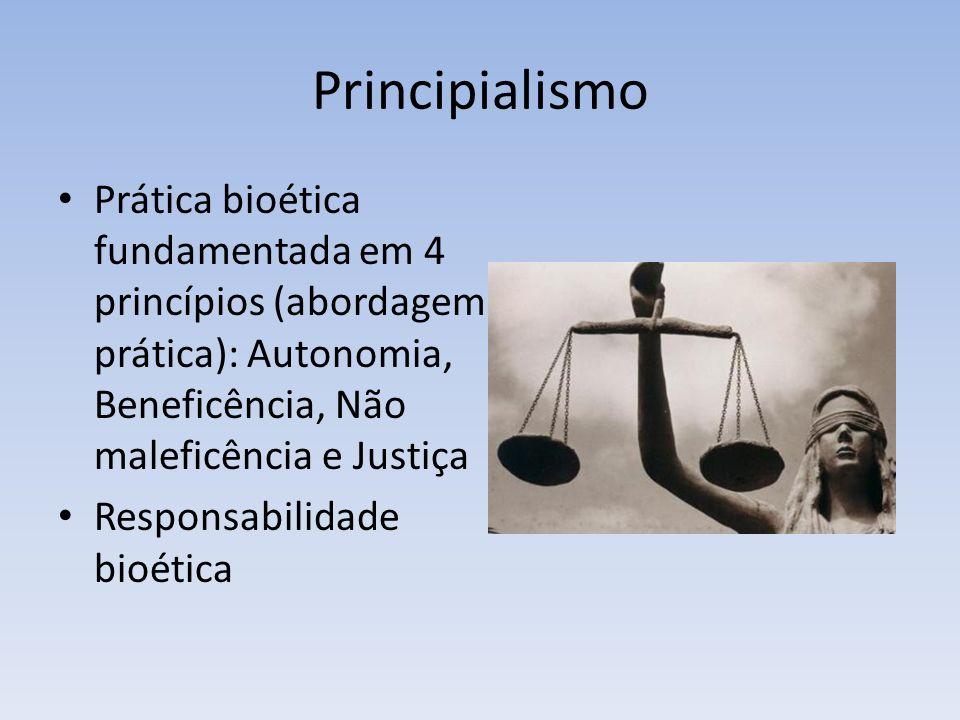 Principialismo Prática bioética fundamentada em 4 princípios (abordagem prática): Autonomia, Beneficência, Não maleficência e Justiça Responsabilidade bioética