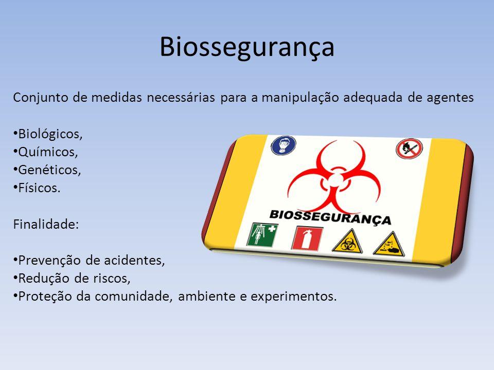Biossegurança Conjunto de medidas necessárias para a manipulação adequada de agentes Biológicos, Químicos, Genéticos, Físicos.