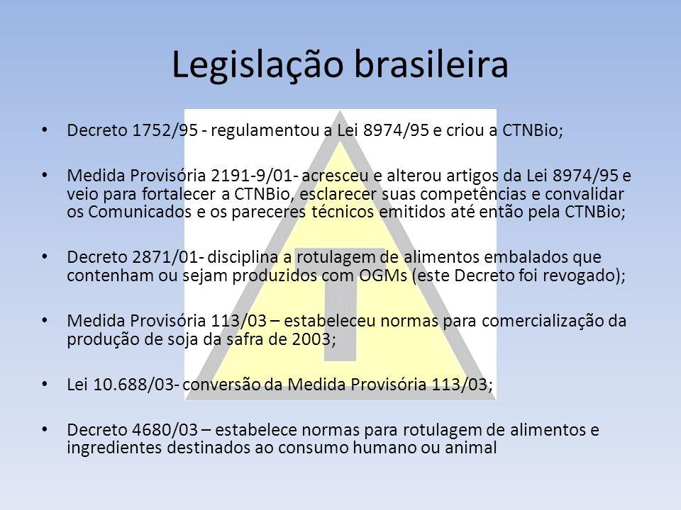Legislação brasileira Decreto 1752/95 - regulamentou a Lei 8974/95 e criou a CTNBio; Medida Provisória 2191-9/01- acresceu e alterou artigos da Lei 8974/95 e veio para fortalecer a CTNBio, esclarecer suas competências e convalidar os Comunicados e os pareceres técnicos emitidos até então pela CTNBio; Decreto 2871/01- disciplina a rotulagem de alimentos embalados que contenham ou sejam produzidos com OGMs (este Decreto foi revogado); Medida Provisória 113/03 – estabeleceu normas para comercialização da produção de soja da safra de 2003; Lei 10.688/03- conversão da Medida Provisória 113/03; Decreto 4680/03 – estabelece normas para rotulagem de alimentos e ingredientes destinados ao consumo humano ou animal