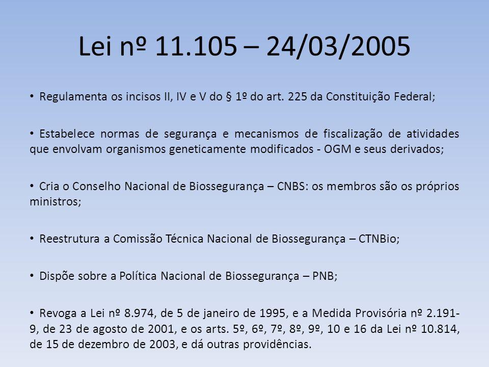 Lei nº 11.105 – 24/03/2005 Regulamenta os incisos II, IV e V do § 1º do art.