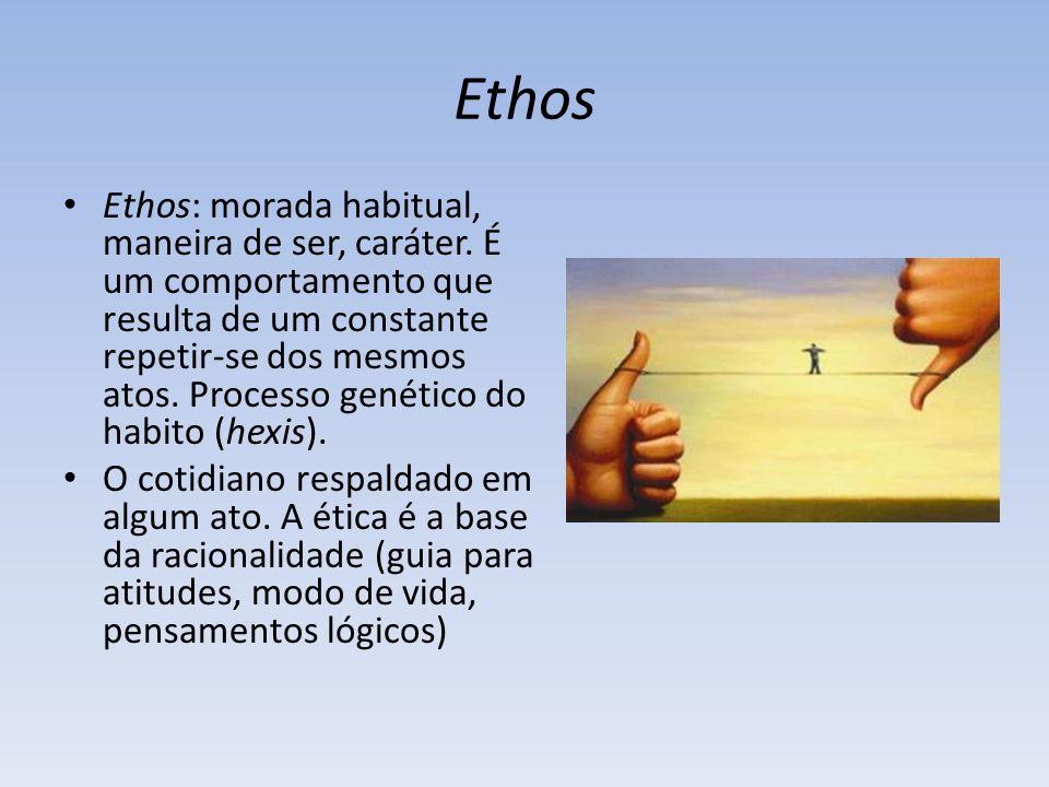 Ethos Ethos: morada habitual, maneira de ser, caráter.