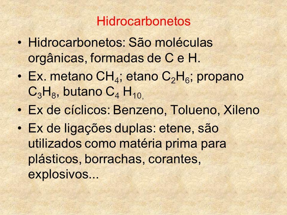 Hidrocarbonetos Hidrocarbonetos: São moléculas orgânicas, formadas de C e H. Ex. metano CH 4 ; etano C 2 H 6 ; propano C 3 H 8, butano C 4 H 10, Ex de