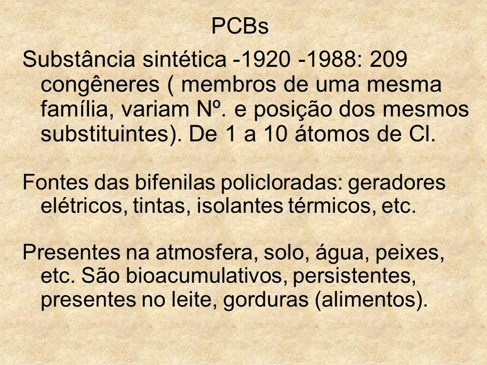 PCBs Substância sintética -1920 -1988: 209 congêneres ( membros de uma mesma família, variam Nº. e posição dos mesmos substituintes). De 1 a 10 átomos