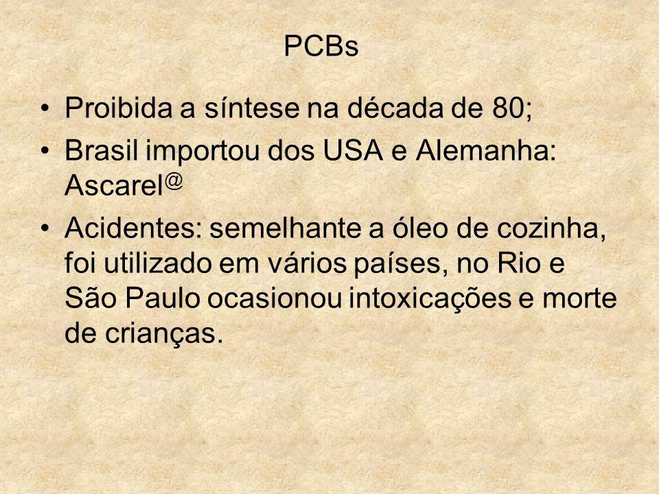 PCBs Proibida a síntese na década de 80; Brasil importou dos USA e Alemanha: Ascarel @ Acidentes: semelhante a óleo de cozinha, foi utilizado em vário