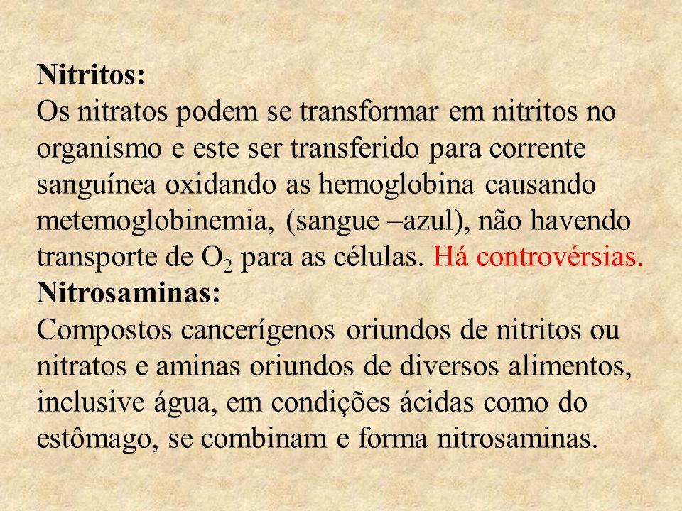 Nitritos: Os nitratos podem se transformar em nitritos no organismo e este ser transferido para corrente sanguínea oxidando as hemoglobina causando me