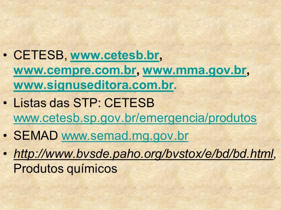 CETESB, www.cetesb.br, www.cempre.com.br, www.mma.gov.br, www.signuseditora.com.br.www.cetesb.br www.cempre.com.brwww.mma.gov.br www.signuseditora.com