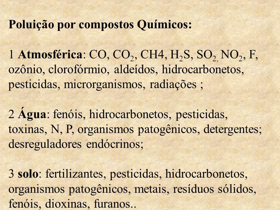Poluição por compostos Químicos: 1 Atmosférica: CO, CO 2, CH4, H 2 S, SO 2, NO 2, F, ozônio, clorofórmio, aldeídos, hidrocarbonetos, pesticidas, micro