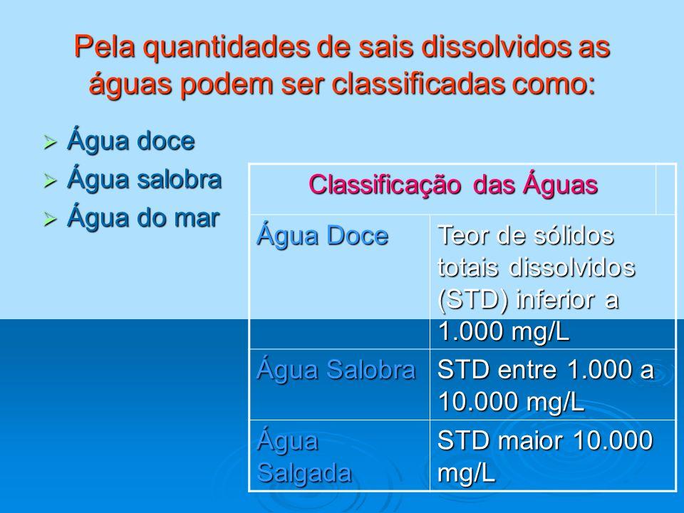 Pela quantidades de sais dissolvidos as águas podem ser classificadas como: Água doce Água doce Água salobra Água salobra Água do mar Água do mar Clas