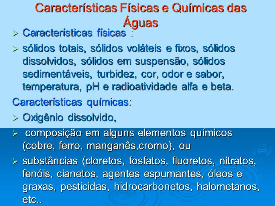 Características Físicas e Químicas das Águas Características físicas : Características físicas : sólidos totais, sólidos voláteis e fixos, sólidos dis