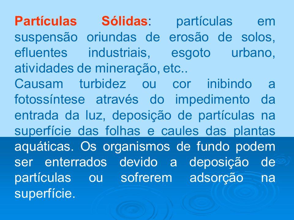 Partículas Sólidas: partículas em suspensão oriundas de erosão de solos, efluentes industriais, esgoto urbano, atividades de mineração, etc.. Causam t