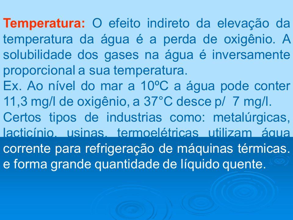Temperatura: O efeito indireto da elevação da temperatura da água é a perda de oxigênio. A solubilidade dos gases na água é inversamente proporcional