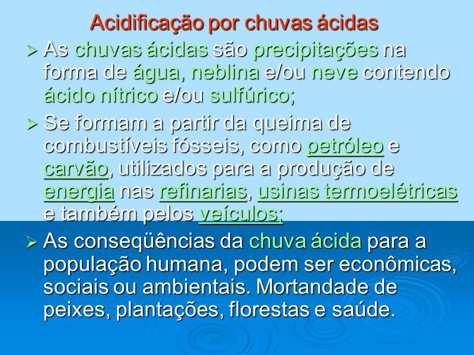 Acidificação por chuvas ácidas As chuvas ácidas são precipitações na forma de água, neblina e/ou neve contendo ácido nítrico e/ou sulfúrico; As chuvas