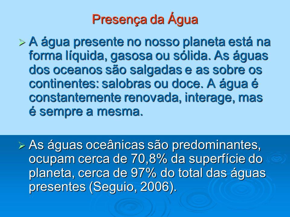 Presença da Água A água presente no nosso planeta está na forma líquida, gasosa ou sólida. As águas dos oceanos são salgadas e as sobre os continentes
