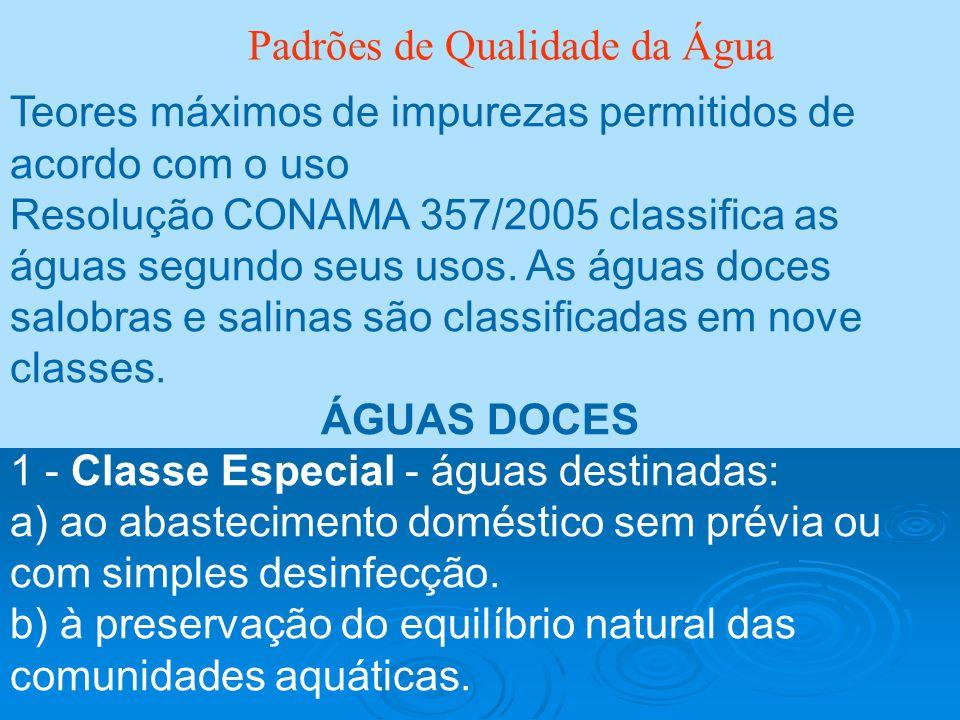 Padrões de Qualidade da Água Teores máximos de impurezas permitidos de acordo com o uso Resolução CONAMA 357/2005 classifica as águas segundo seus uso