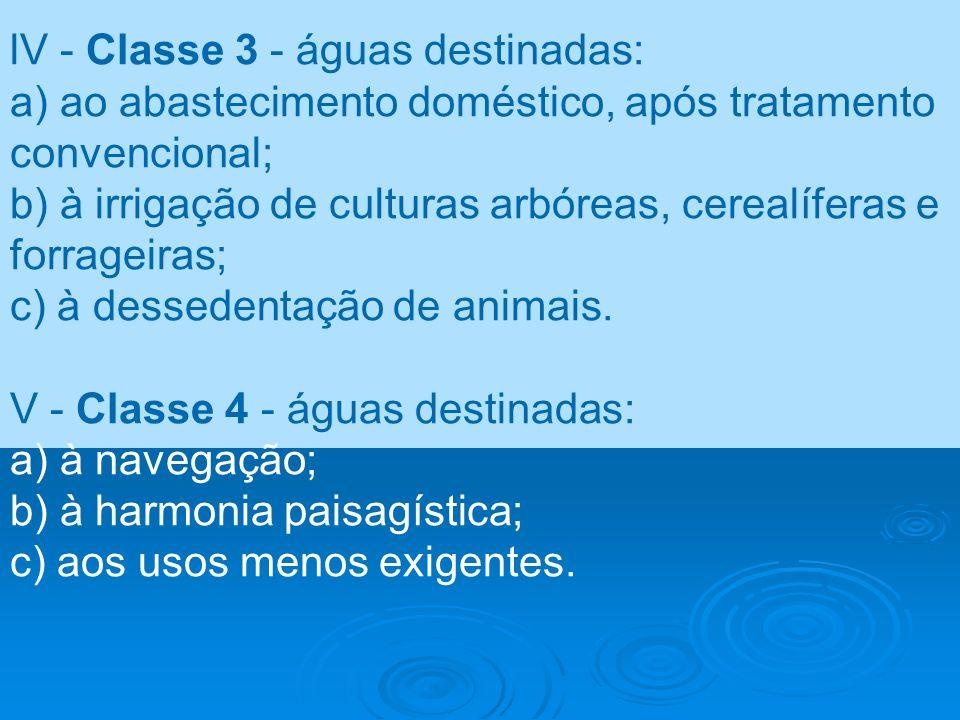 lV - Classe 3 - águas destinadas: a) ao abastecimento doméstico, após tratamento convencional; b) à irrigação de culturas arbóreas, cerealíferas e for