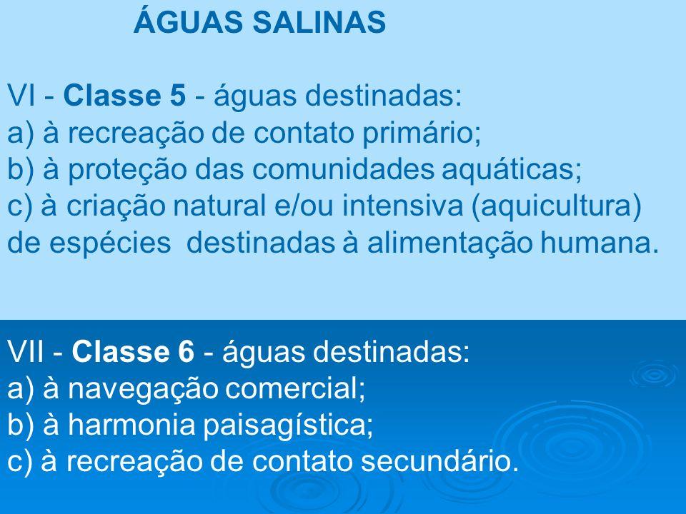 ÁGUAS SALINAS VI - Classe 5 - águas destinadas: a) à recreação de contato primário; b) à proteção das comunidades aquáticas; c) à criação natural e/ou