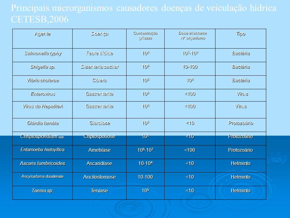 AgenteDoença Concentração g/fezes Dose Infectante Nº organismo Nº organismoTipo Salmonella typhy Febre tifóide 10 6 10 5 -10 9 Bactéria Shigella sp. D