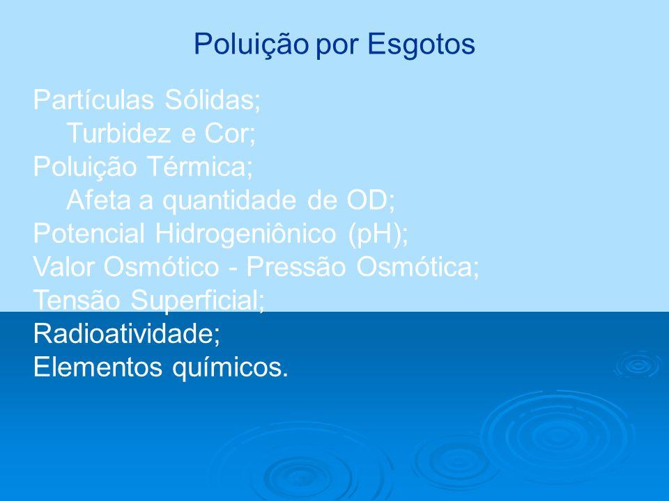 Poluição por Esgotos Partículas Sólidas; Turbidez e Cor; Poluição Térmica; Afeta a quantidade de OD; Potencial Hidrogeniônico (pH); Valor Osmótico - P