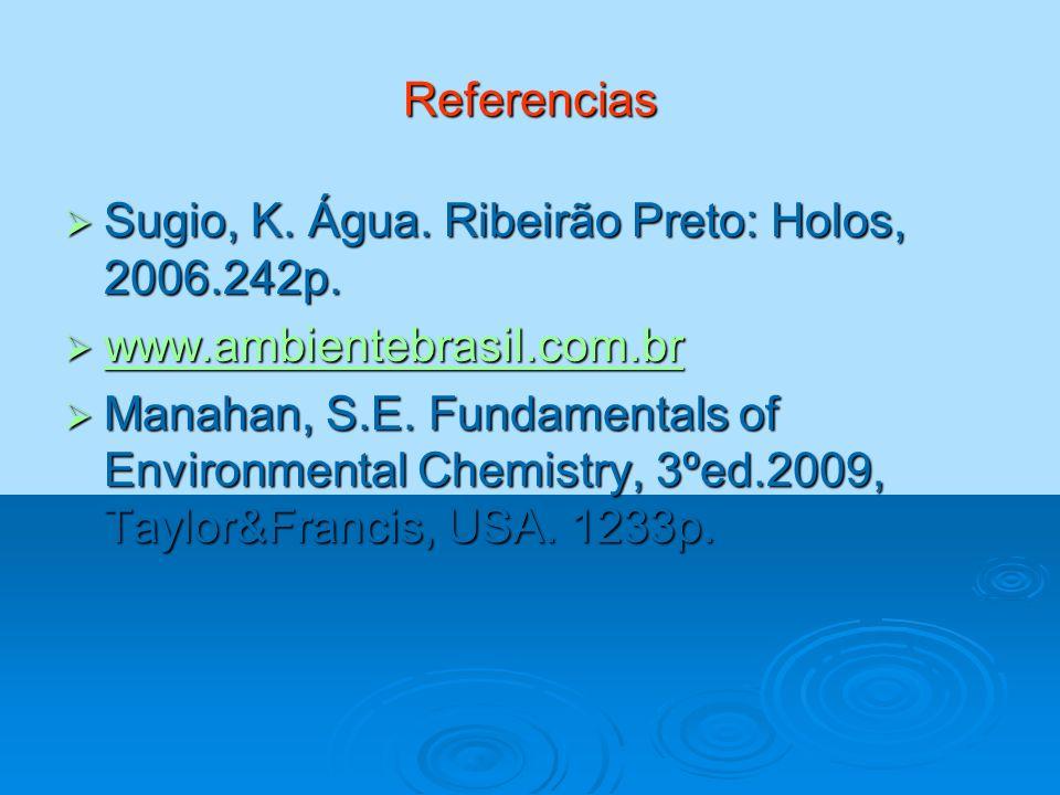 Referencias Sugio, K. Água. Ribeirão Preto: Holos, 2006.242p. Sugio, K. Água. Ribeirão Preto: Holos, 2006.242p. www.ambientebrasil.com.br www.ambiente