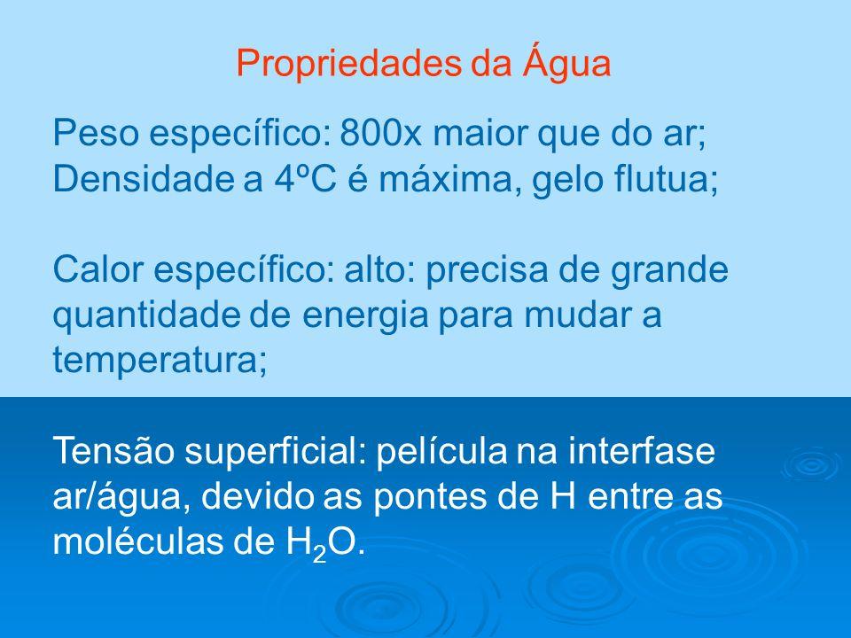 Peso específico: 800x maior que do ar; Densidade a 4ºC é máxima, gelo flutua; Calor específico: alto: precisa de grande quantidade de energia para mud