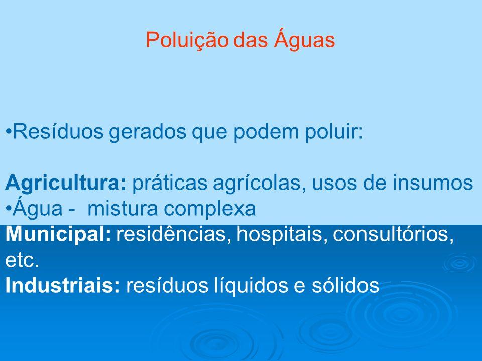 Poluição das Águas Resíduos gerados que podem poluir: Agricultura: práticas agrícolas, usos de insumos Água - mistura complexa Municipal: residências,