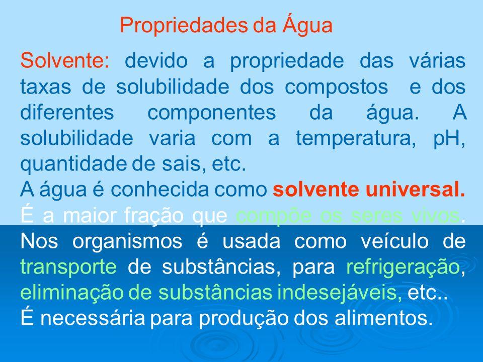 Propriedades da Água Solvente: devido a propriedade das várias taxas de solubilidade dos compostos e dos diferentes componentes da água. A solubilidad