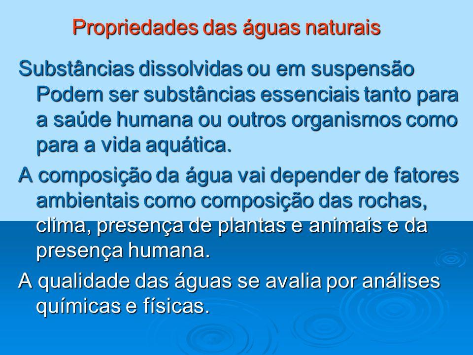 Propriedades das águas naturais Substâncias dissolvidas ou em suspensão Podem ser substâncias essenciais tanto para a saúde humana ou outros organismo