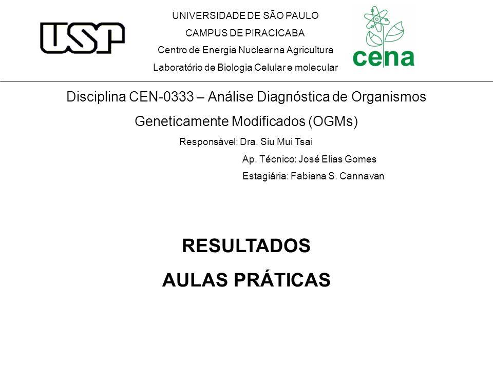 RESULTADOS AULAS PRÁTICAS UNIVERSIDADE DE SÃO PAULO CAMPUS DE PIRACICABA Centro de Energia Nuclear na Agricultura Laboratório de Biologia Celular e mo