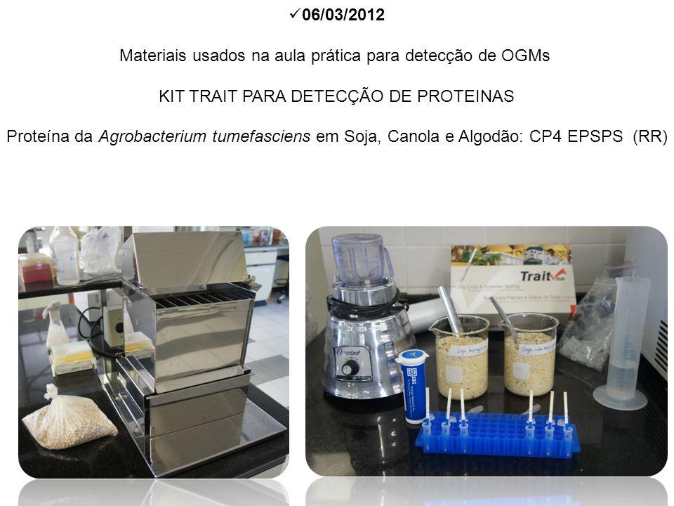 06/03/2012 Materiais usados na aula prática para detecção de OGMs KIT TRAIT PARA DETECÇÃO DE PROTEINAS Proteína da Agrobacterium tumefasciens em Soja,