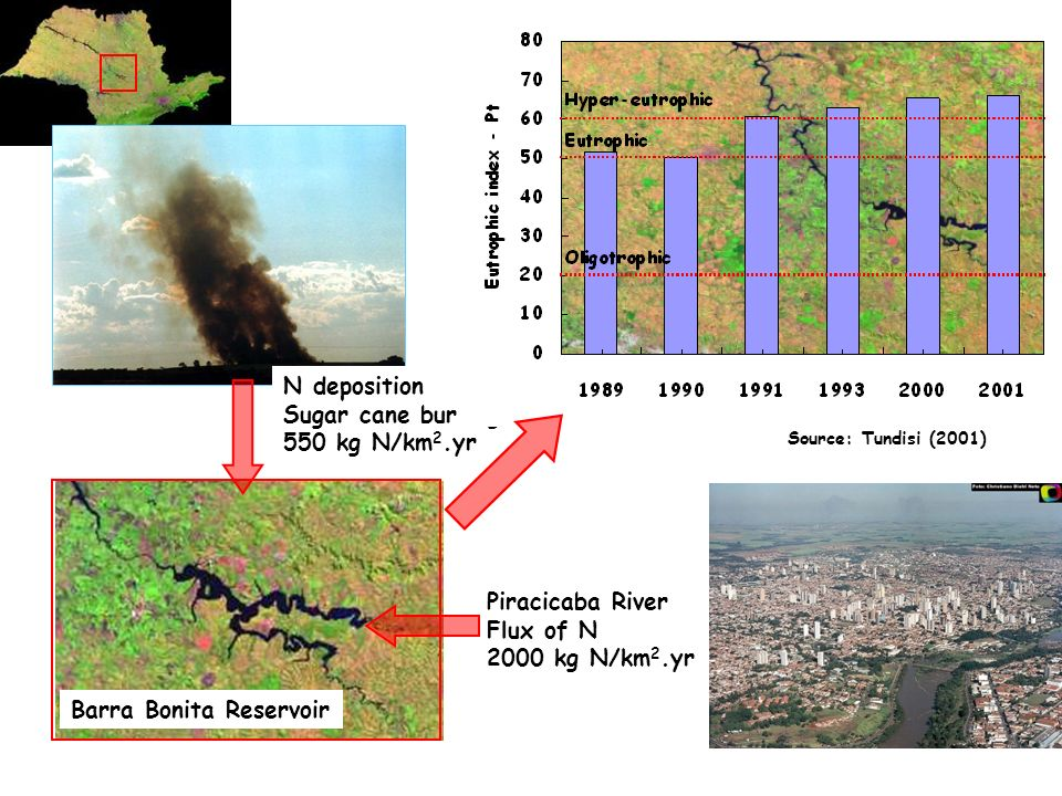 Barra Bonita Reservoir Piracicaba River Flux of N 2000 kg N/km 2.yr N deposition Sugar cane burning 550 kg N/km 2.yr Source: Tundisi (2001)