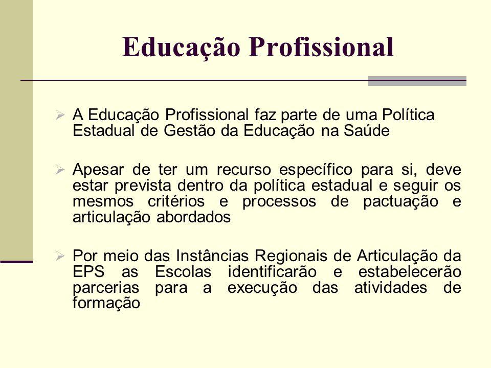 Educação Profissional A Educação Profissional faz parte de uma Política Estadual de Gestão da Educação na Saúde Apesar de ter um recurso específico pa