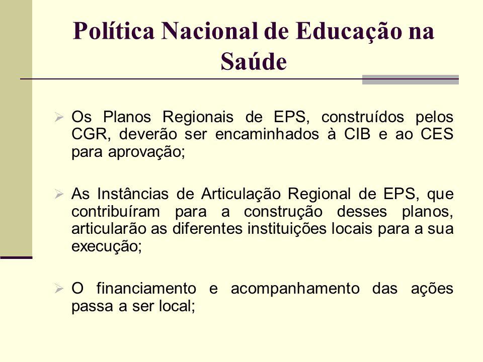 Política Nacional de Educação na Saúde Os Planos Regionais de EPS, construídos pelos CGR, deverão ser encaminhados à CIB e ao CES para aprovação; As I