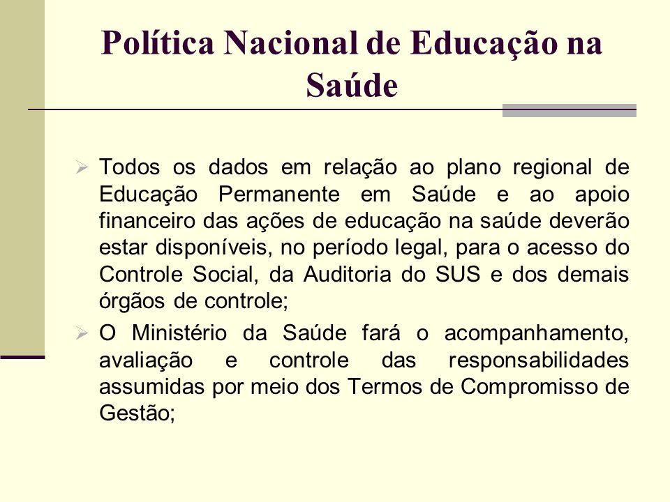 Política Nacional de Educação na Saúde Todos os dados em relação ao plano regional de Educação Permanente em Saúde e ao apoio financeiro das ações de