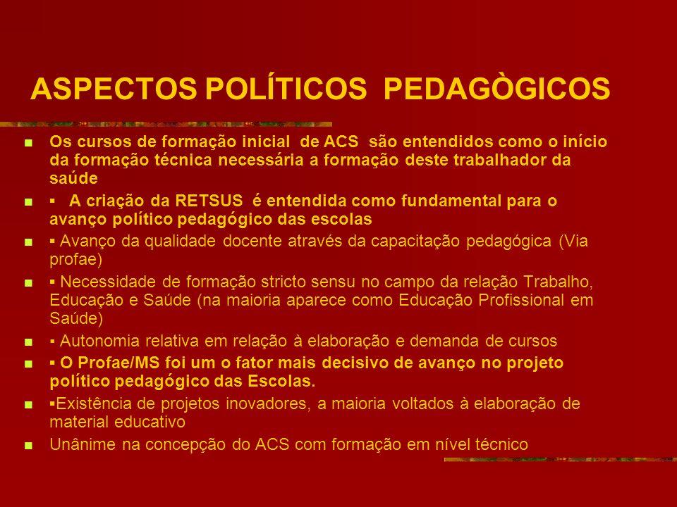 ASPECTOS POLÍTICOS PEDAGÒGICOS Os cursos de formação inicial de ACS são entendidos como o início da formação técnica necessária a formação deste traba