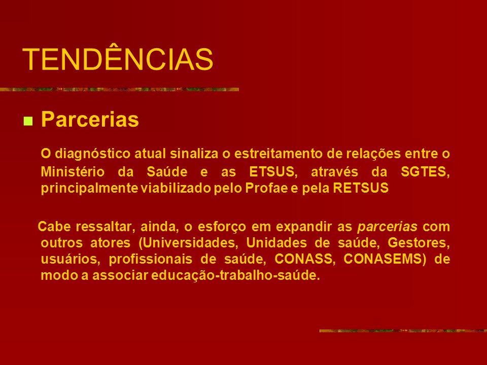 TENDÊNCIAS Parcerias O diagnóstico atual sinaliza o estreitamento de relações entre o Ministério da Saúde e as ETSUS, através da SGTES, principalmente