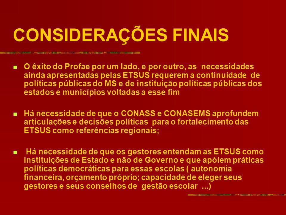 CONSIDERAÇÕES FINAIS O êxito do Profae por um lado, e por outro, as necessidades ainda apresentadas pelas ETSUS requerem a continuidade de políticas p