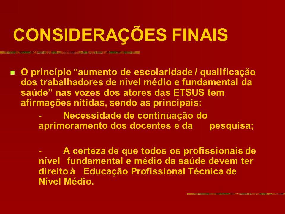 CONSIDERAÇÕES FINAIS O princípio aumento de escolaridade / qualificação dos trabalhadores de nível médio e fundamental da saúde nas vozes dos atores d
