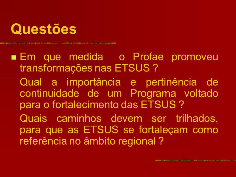 Questões Em que medida o Profae promoveu transformações nas ETSUS .