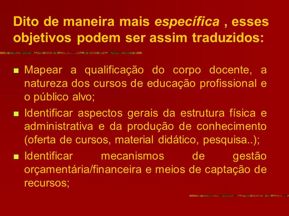Dito de maneira mais específica, esses objetivos podem ser assim traduzidos: Mapear a qualificação do corpo docente, a natureza dos cursos de educação