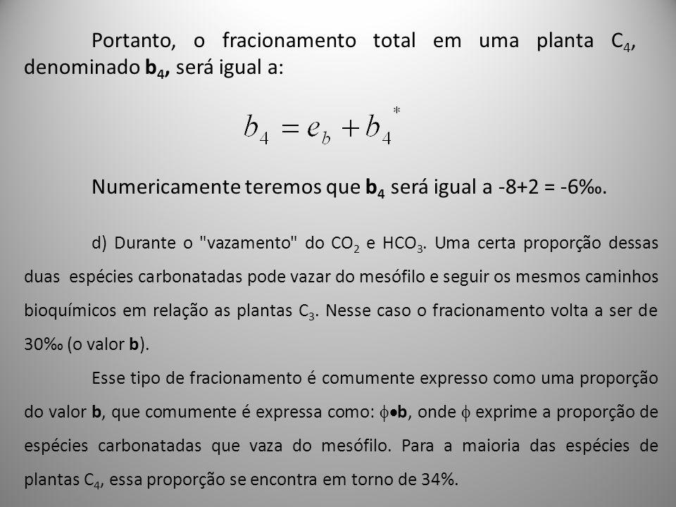 Portanto, o fracionamento total em uma planta C 4, denominado b 4, será igual a: Numericamente teremos que b 4 será igual a -8+2 = -6. d) Durante o