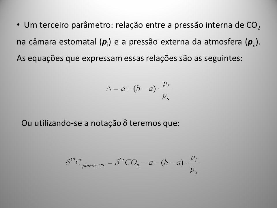 Um terceiro parâmetro: relação entre a pressão interna de CO 2 na câmara estomatal (p i ) e a pressão externa da atmosfera (p a ). As equações que exp